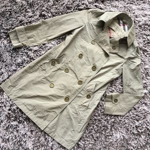 Burberry rain jacket coat sz 4 XS/S green gray